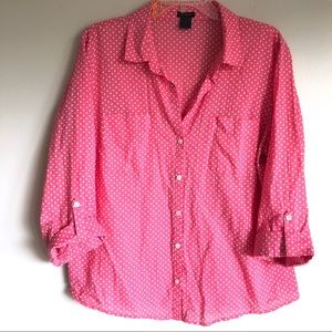 Ann Taylor Polka Dot Button Down Top
